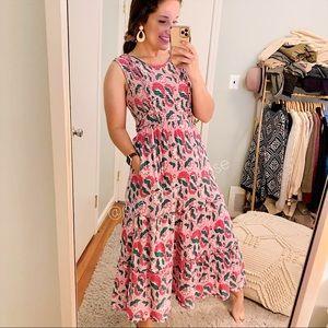 NWT Banjanan Pink Isha Smocked Maxi Dress Boho S